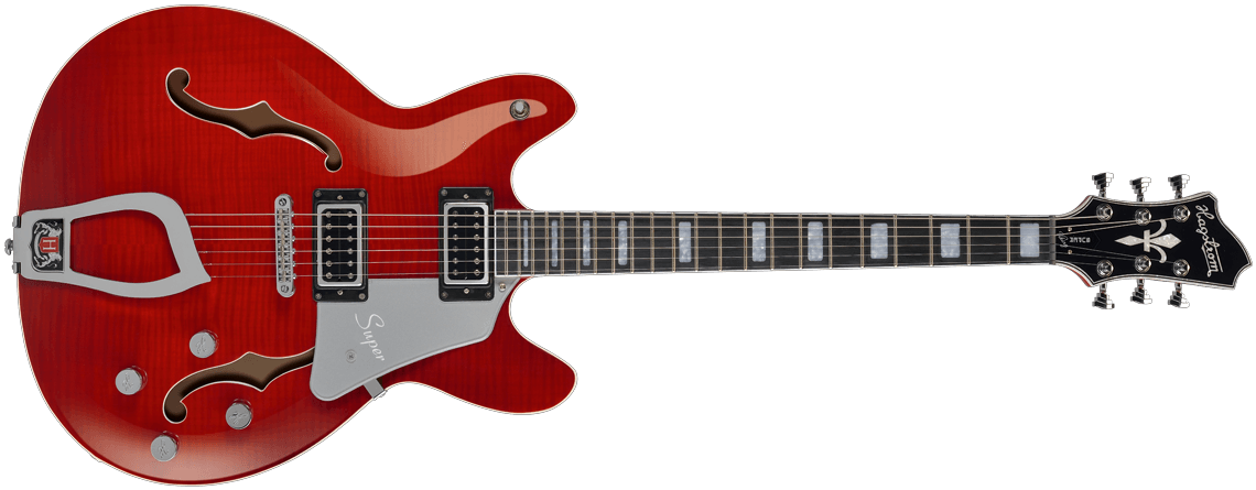 Hagstrom Super Viking Wild Cherry transparent front